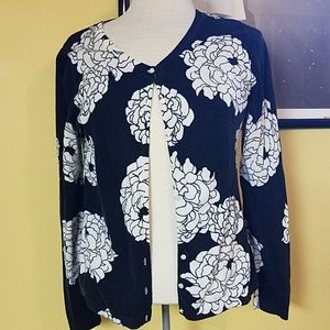 Classic black white floral sweater